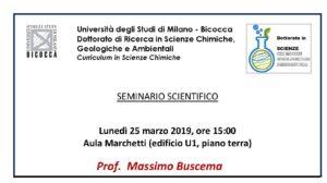 Scientific Seminar – University of Milan – Bicocca – 25 March 2019
