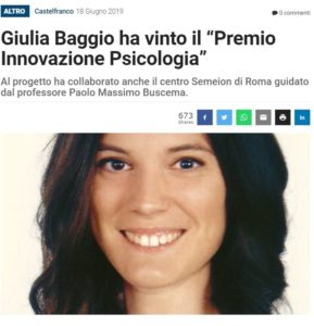 "Giulia Baggio won the ""Psychology Innovation Award""."