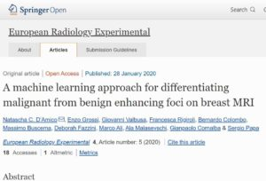 European Radiology Experimental – A machine learning approach for differentiating malignant from benign enhancing foci on breast MRI