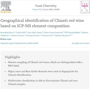 Food Chemestry – Geographical identification of Chianti red wine based on ICP-MS element composition