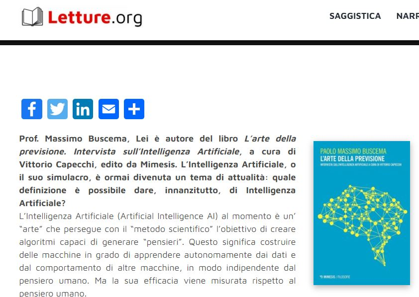 Letture.org  – Interview on Artificial Intelligence with Prof. Massimo Buscema