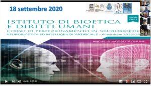 Istituto di Biotetica e Diritti Umani _Corso di Perfezionamento in neurobioetica – Neurobioetica ed Intelligenza Artificiale